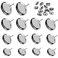 Alysee 20pcs Stainless Steel Earring Wire Hooks Bezel Earring Components with 20pcs 12mm Clear Glass Cabochons Settings 10 Pairs, Tray: 12mm, Gold /& Silver