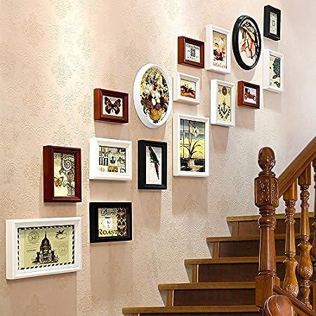 MWPO Escalera Foto Arte de la Pared Corredor Creativo Cuadro para Colgar en la Pared Foto de combinación Caja de combinación de Regalo de Boda en la Pared (Color: A): Amazon.es: Hogar