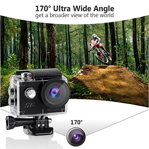 Waterproof Action Camera 4K, Siroflo WiFi Sport Video Camera Remote Control HD Sports Camcorder Underwater Cam with 12MP 170° Ultra Wide Angle Len and 2 Rechargeable Batteries 18 Accessories Kits