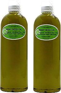 2x16 Oz / 32 Oz Premium Hemp Seed Oil Organic 100% Pure Unrefined Cold Pressed