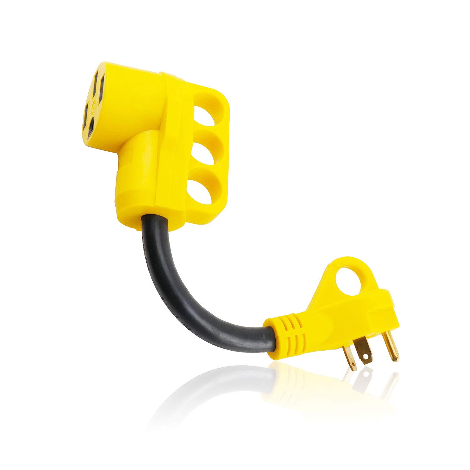 Epicord Heavy Duty RV Adapter 30 AMP Male To 50 AMP Female Dogbone Power Cord With Handles Connector, 12Inch, Yellow