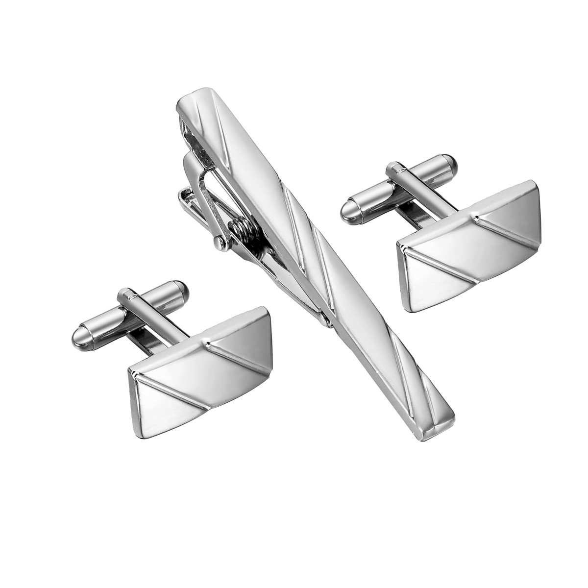 HooAMI Classic Mens Copper Tie Clip Cufflink Set, Silver Tone TY BETY105005