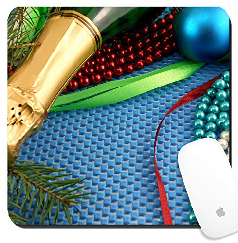 Luxlady Suqare Mousepad 8x8 Inch Mouse Pads/Mat design IMAGE ID: 24122197 Beautiful ornaments champagne pearl and balls as a New Year decoration (Year Champagne Romantic New)