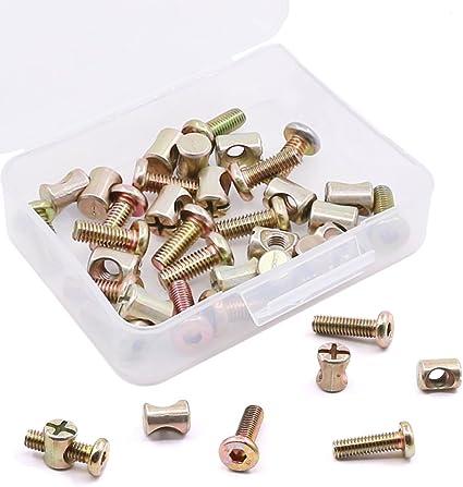 60 pcs M6 x 20//30//40//50//60mm Zinc-Plated Hex Socket Cap Barrel Screws Bolt Nuts Assortment Kit for Furniture Cots Beds Crib and Chairs