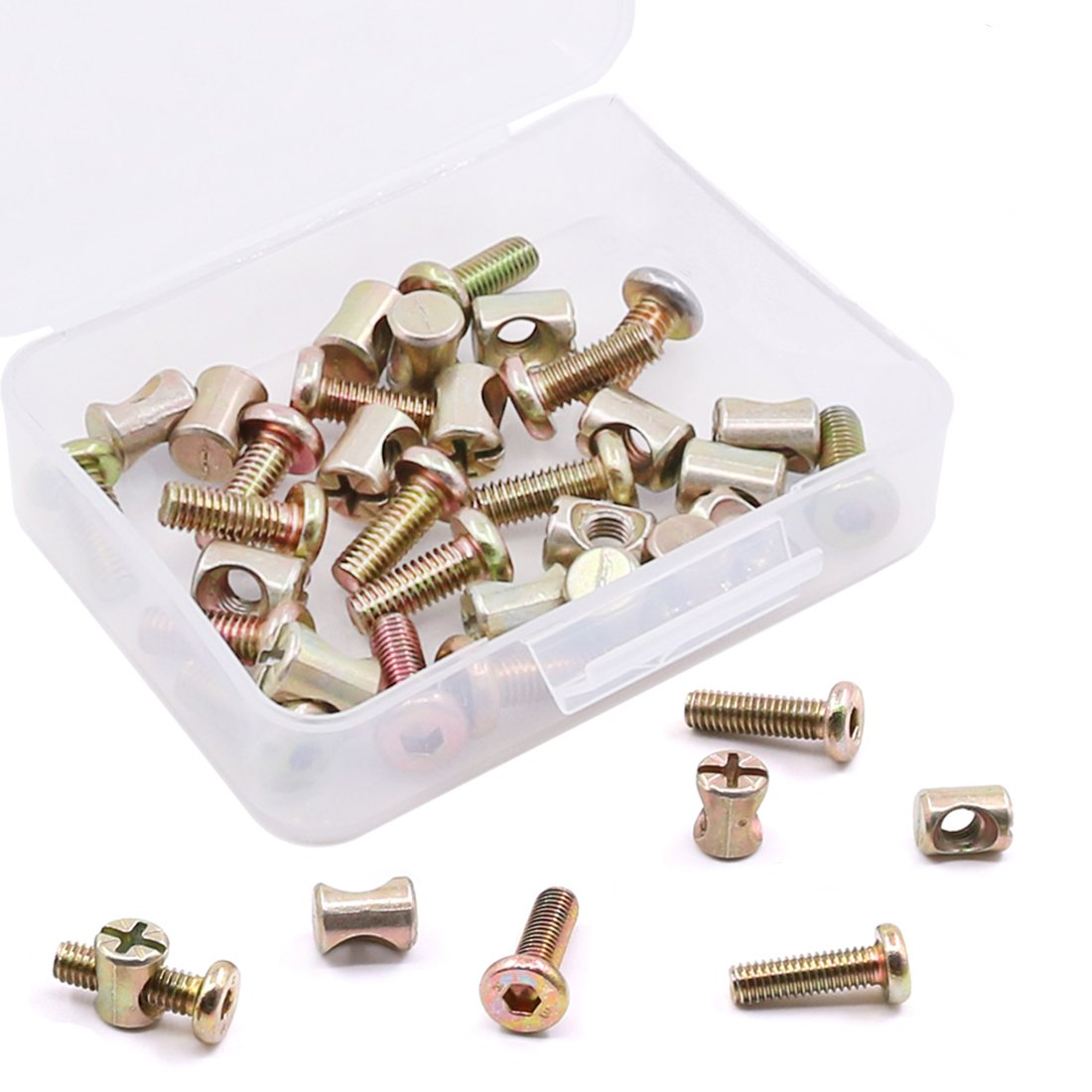 15 Pairs M6 x 40mm Zinc Plated Hex Drive Socket Cap Furniture Bolts with Barrel Nuts for Furniture Cots Beds Crib and Chairs