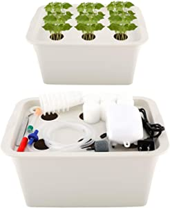 Homend Indoor Hydroponic Grow Kit with Bubble Stone, 6 Plant Sites (Holes) Bucket,Buoy,Air Pump, Planting Sponges - Best Indoor Herb Garden for Plants - Grow Fast at Home (Gray)