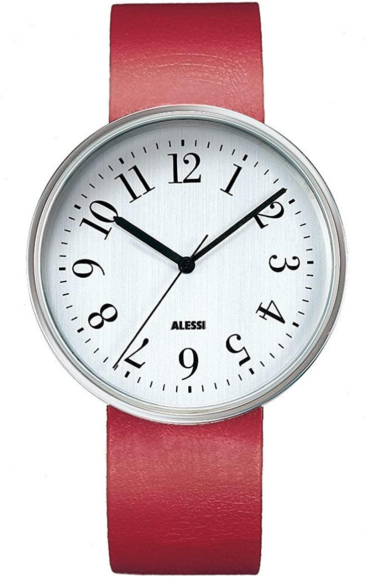 Alessi Unisex AL6004 Record Stainless-Steel and Red Leather Strap Watch