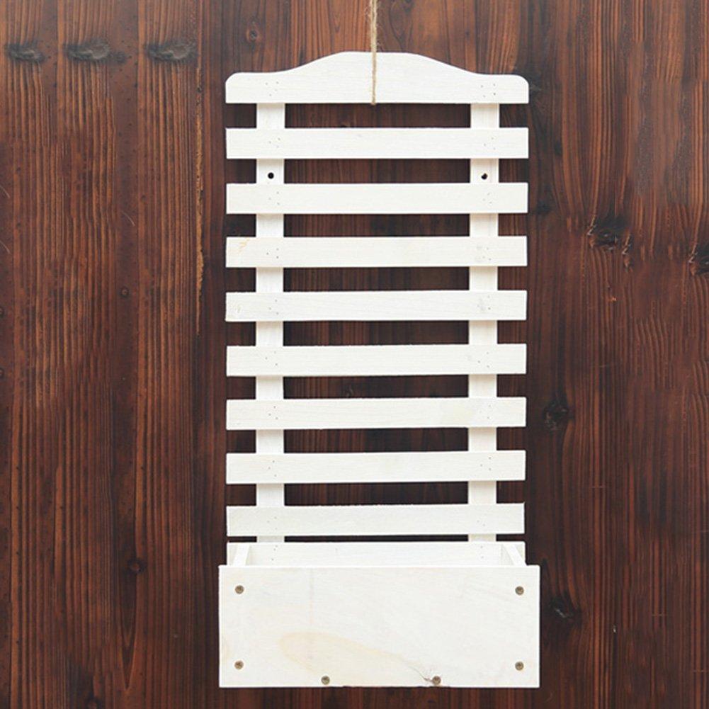 ZHANWEI フラワースタンド フラワーポットラック 木材 壁掛け式 多層 多機能 手すり バルコニー リビングルーム 屋内/屋外、 炭化された色、 3サイズ (色 : #1-White) B07D8V8J5G #1-White #1White