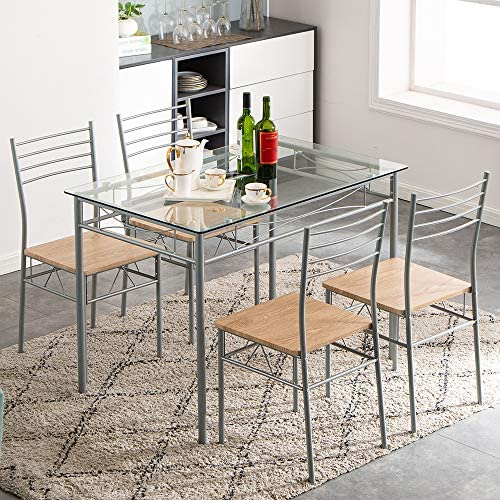 5-Piece Kitchen Dining Table Set W/Glass Tabletop,...