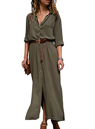 fb7023c39a HOTAPEI Women s Maxi Dresses Three Quarter Sleeve V Neck Wrap Work Button  Down Wrap Split Chiffon