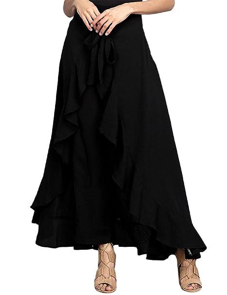 fdf2a82d6 Lrud Women's High Waisted Ruffle Palazzo Pants Falda Overlay Falda Culottes