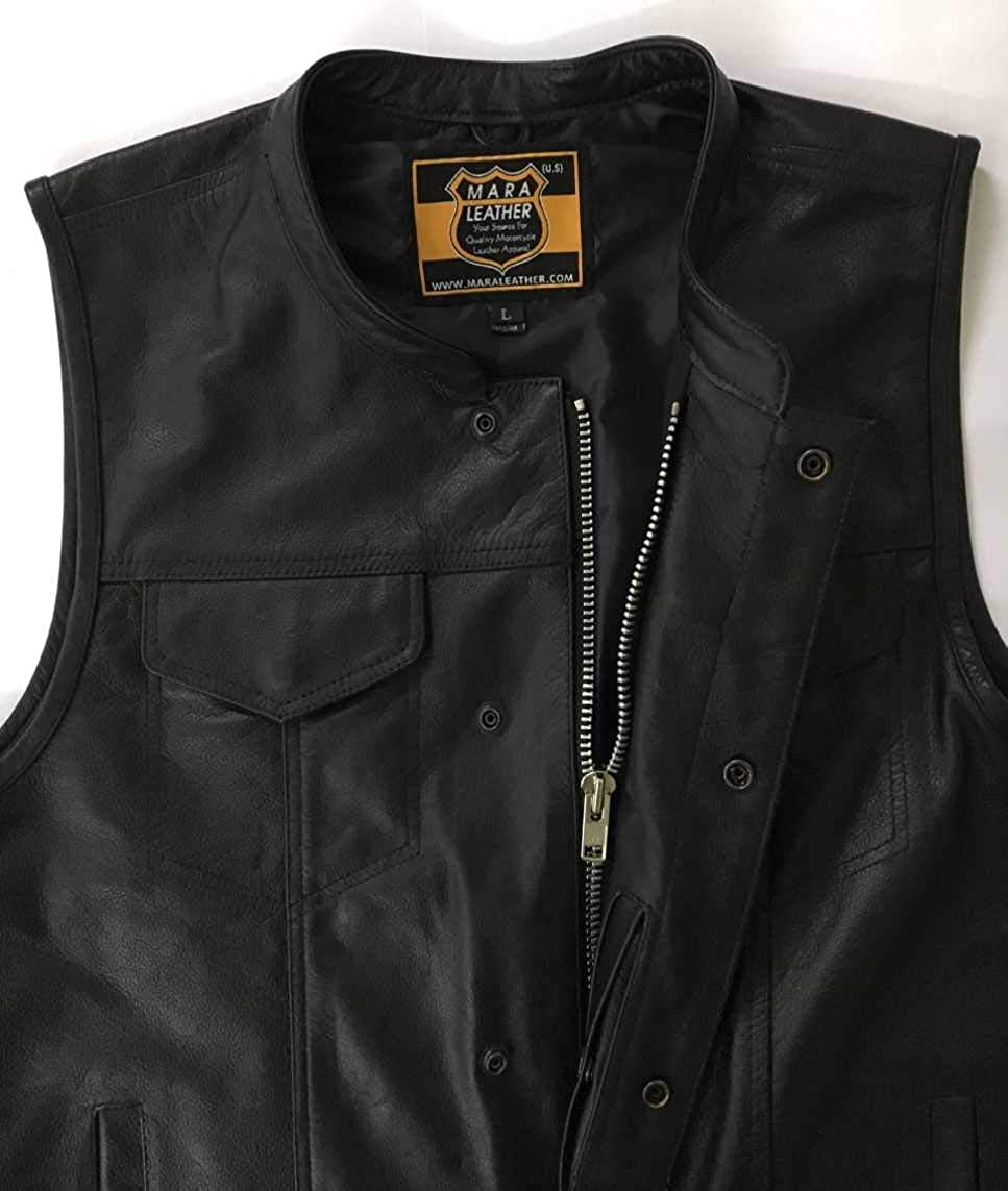ML986 SOA Leather Vest Men Anarchy Motorcycle Biker Club Concealed Carry Outlaws