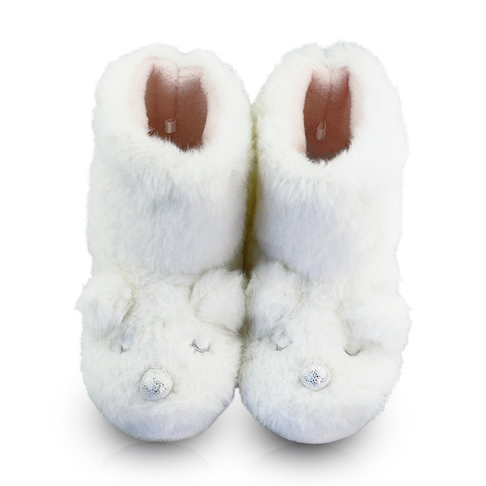 LA PLAGE Girl's Indoor Non-Skid Plush Comfortable White Sheep Boot Slippers 3-4 US White Sheep