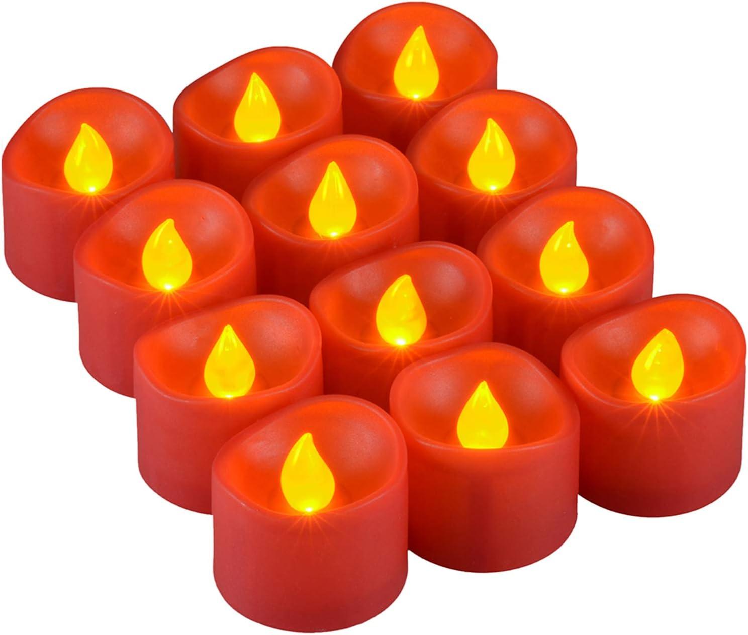 PChero Juego de 12 Luces de t/é Parpadeantes Sin Llama Vela Votiva a Pilas para Interior Hogar Boda Halloween Festival de Navidad Decoraci/ón de Fiesta Velas LED Rojas Amarillo /Ámbar