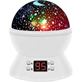 Star Night Light, SCOPOW Rotating Night Light Projector With LED Timer Auto-off Romantic Star Sky Lighting Lamp Nursery Gift Toys For Boy Girl Kids Children Bedroom(White)