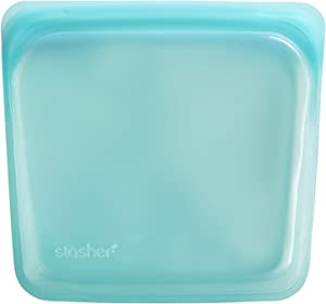 Stasher Re-Usable Food-Grade Platinum Silicone Sandwich Bag for Eating From/Cooking, Freezing and Storing In/Organising/Travelling, 19.05 cm x 19.05 cm, Aqua