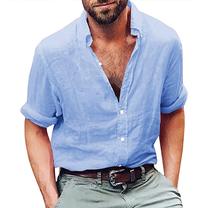 ca832adce3b4 Image Unavailable. Image not available for. Color  Mens Linen Casual Long  Sleeve Shirt Cotton Tees Loose Fit Button Down Roll Up Summer Beach