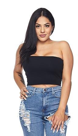 90c9902e5139f2 SOHO GLAM Black Cropped Tube Top at Amazon Women s Clothing store