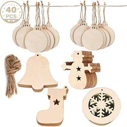 Wooden Christmas Decorations.Wooden Christmas Ornaments Diy Round Unfinished Wood Discs To Paint For Rustic Christmas Hanging Decoration Great For Arts And Crafts 4shapes