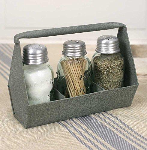 Salt Pepper Toothpick (Primitive Industrial Galvanized Toolbox MASON Jar Salt & Pepper & Tooth pick Caddy)