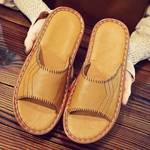 fankou Slippers Couples Home Slippers Women Indoor Summer Non-Slip Summer Home Cool Slippers Male Summer Sandals,39-40, Yellow Brown