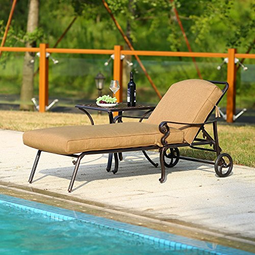 DOMI OUTDOOR LIVING Chaise Lounge Chair with Cushion for Beach, Pool and Yard