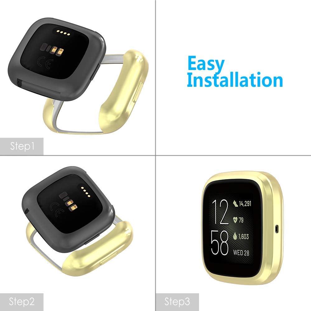 GeeRic 3X Kompatibel F/ür Fitbit Versa 2 Silikon H/ülle,Ultra Schlank D/ünn TPU Gel Gummi Weiche Haut Silikon Schutzh/ülle Flexible Anti-Scratch Sto/ßf/ängerabdeckung Kompatibel Mit Fitbit Versa 2