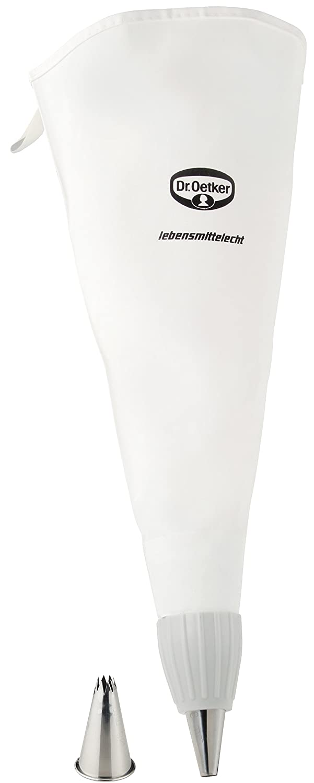 Dr Backzubeh/ör zum Dekorieren und Verzieren Farbe: wei/ß zwei hochwertige Edelstahl-T/üllen inklusive Oetker Spritzbeutel Baumwolle 35 cm Menge: 1 St/ück