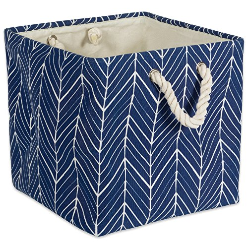 DII Collapsible Polyester Storage Basket or Bin with Durable Cotton Handles, Home Organizer Solution for Office, Bedroom, Closet, Toys, & Laundry(13x13x13