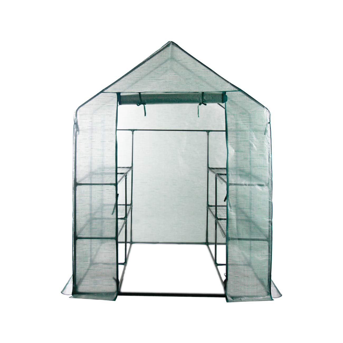 AODAILIHB Reinforced PE Net 6 Layers 8 Shelves Greenhouse Suitable for Lawn and Garden Steel Structure Assembly, 8 Fixed Buttons 4 Floor Fasteners, H x L x W:76.77 x 56.29 x 56.29 inch (02)