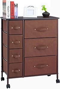7 Drawers Dresser - KINGSO Furniture Storage Tower Organizer Unit with Sturdy Steel Frame and Easy-Pull Chest of Drawers for Bedroom Living Room Guest Room Dorm Closet - Coffee