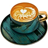 [LITHE] Cappuccino Cups Modern Style Golden Mosaic Ceramics Coffee Cup and Saucer Set,Afternoon Tea Cup,Coffee Mug Set,8oz,Pa