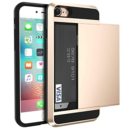 new product af327 6573d iPhone 7 Case, iPhone 7 Slide Wallet case, [Anti Scratch][Heavy Duty][Card  Pocket] ShockProof 2 in1 Dual Layer Hybrid Rubber Bumper Protective Card ...