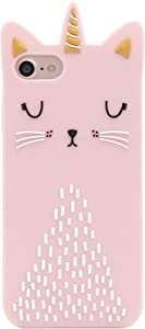 Artbling Cat Unicorn Case for iPhone 5 5S 5C SE Silicone 3D Cartoon Animal Pink Cover,Kids Girls Cool Lovely Cute Cases,Kawaii Soft Gel Rubber Unique Character Funny Protector for iPhone5 /iPhone5S