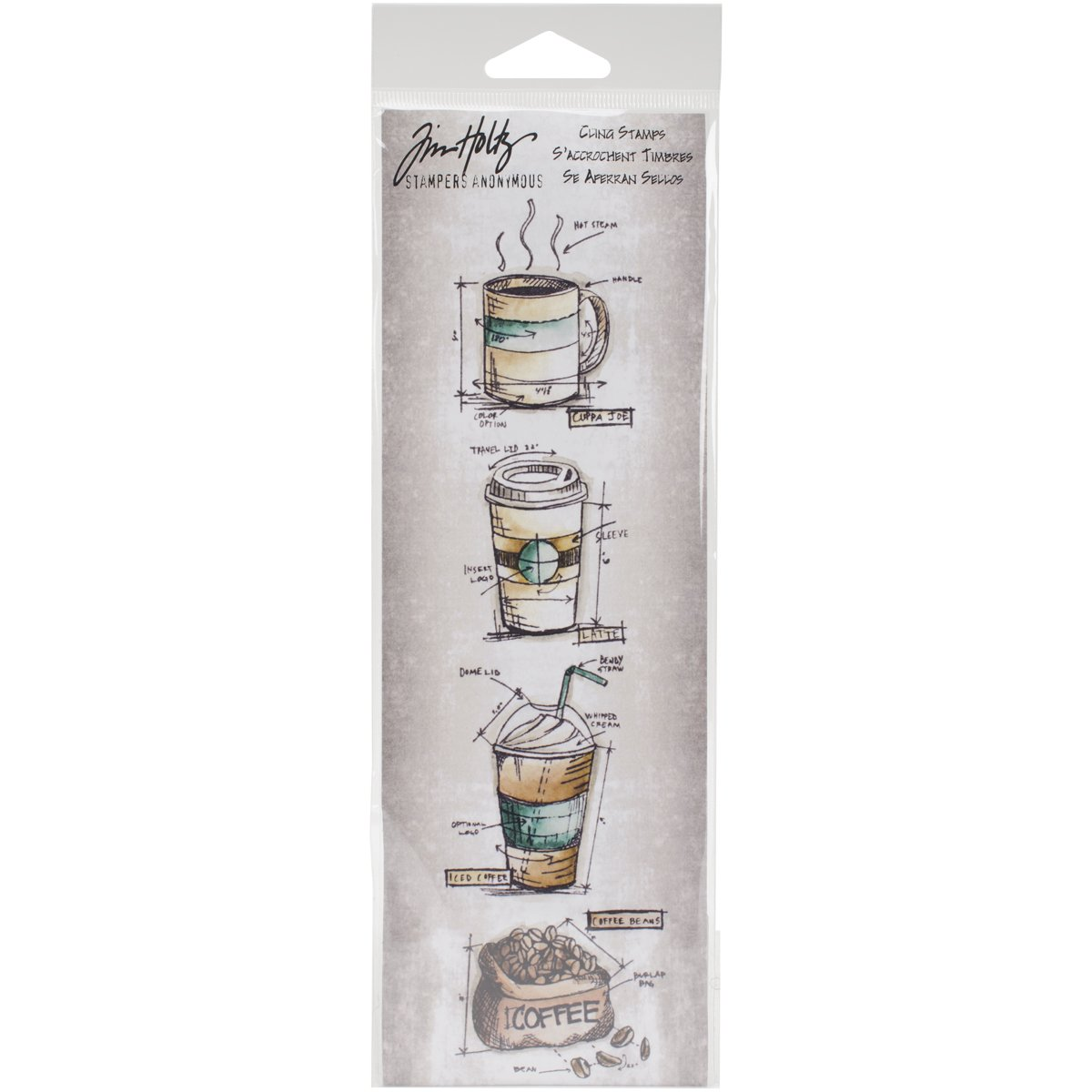Stampers Anonymous Agw Fresh Brewed Mini Blueprints Strip, Grey by Amazon