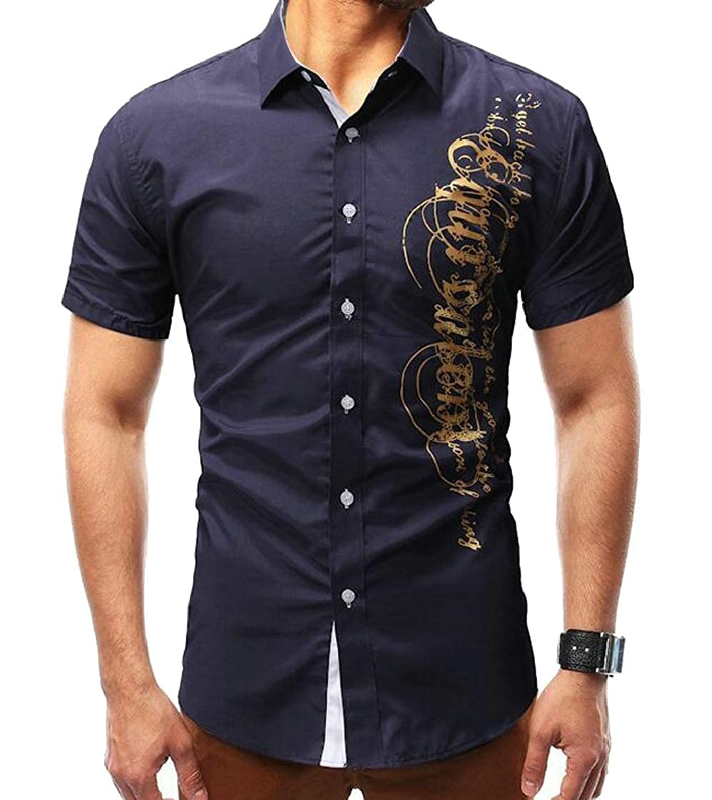 YYear Mens Classic Button Down Short Sleeve Letters Print Dress Shirts