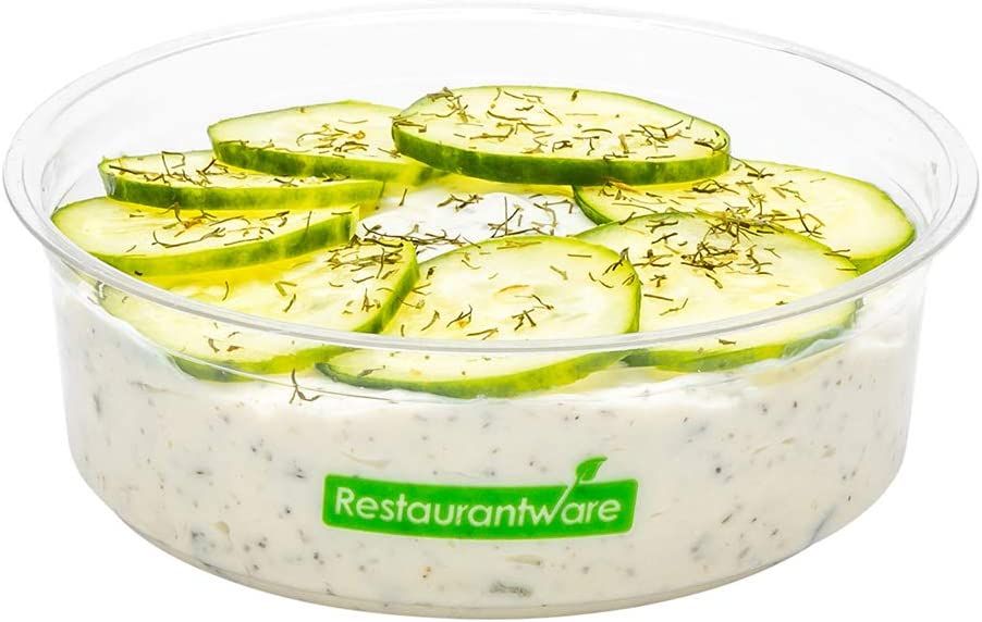 Basic Nature 8 Ounce Deli Containers, 500 Compostable Meal Prep Containers - Lids Sold Separately, Round, Clear PLA Plastic Disposable Food Containers, Eco-Friendly, Portion Control - Restaurantware