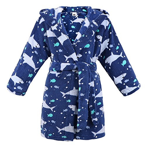 ARCTIC Paw Boys Girls Bathrobes Plush Fleece Floral Hooded Robe Sleepwear,Ocean,XL
