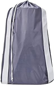 HOMEST Laundry Bag with Shoulder Straps, Machine Washable Nylon Large Dirty Clothes Organizer for Camp, Fits Laundry Hamper or Basket, Can Carry Up to 3 Loads of Laundry, Grey