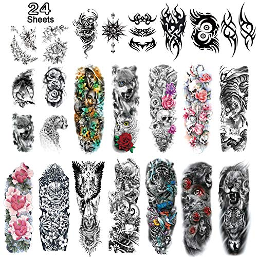 Leoars Extra Large Temporary Tattoos Sleeve, Full Arm Sleeve Temporary Tattoos for Men Women Body Art, Fake Half Arm Tattoo Stickers, 24-Sheet
