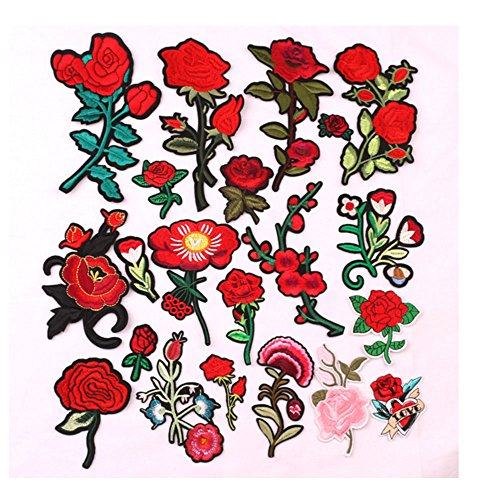 Super Stickers,UAYHQ Assorted Rose Embroidered Flower Patches Sew iron on Floral Applique Motif (free-Rose) by UAYHQ