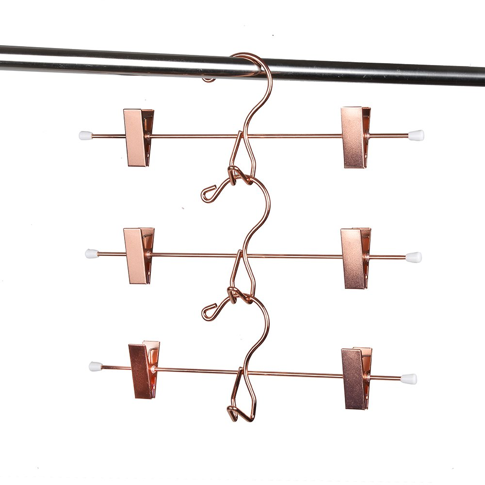 Amber Home Add-On Rose Gold Shiny Copper Metal Pant Skirt Slack Hangers with 2-Adjustable Clips 5-Pack M0204