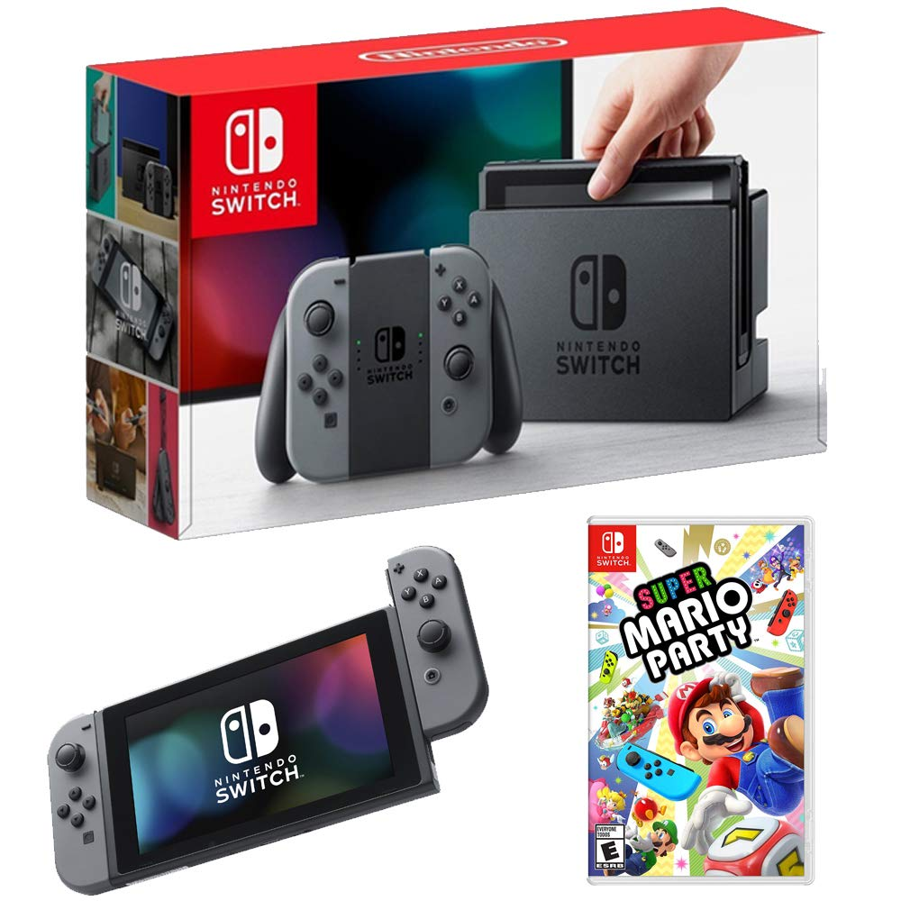 Nintendo Switch 32 GB Console with Gray Joy Con and Super Mario Party Bundle