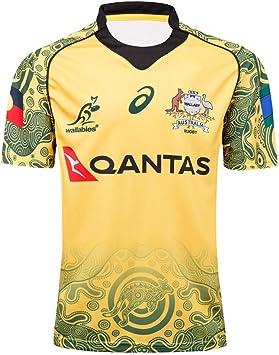 Camisetas de rugby para hombre,17-18 Australia Copa del Mundo de rugby Wallabies Jersey de los hombres del verano de la manga corta ocasional de fútbol camiseta de fútbol Ropa de deporte desgaste: