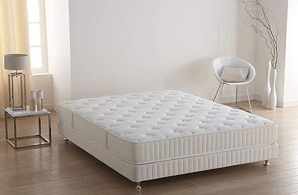 Simmons Colchón Op + somier + pie Blanco, Blanco, 160 x 200 cm sommier 2x80