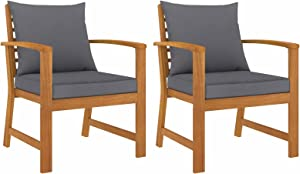 Tidyard 2 Piece Garden Chairs with Gray Cushion Acacia Wood Armchair Wooden Outdoor Dining Chair Patio Balcony Backyard Outdoor Furniture 23.8 x 23.8 x 31.9 Inches (W x D x H)