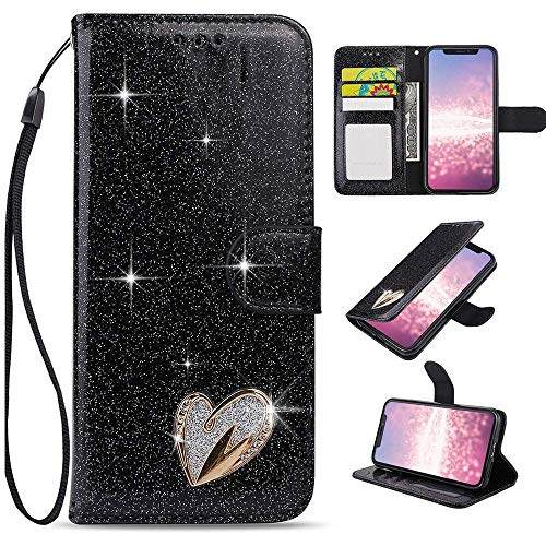 for iPhone 6 Case iPhone 6S Case, LAPOPNUT Luxury Bling Diamond PU Leather Flip Case Rhinestone Jewellery 3D Love Heart Card Slot Glitter Wallet Magnetic Stand Cover with Wrist Strap, Black
