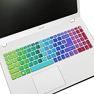 Keyboard Cover Fit 2019 2018 Acer Aspire E15 E5-575/576G/573G ES15 ES1-572 |Aspire E 17 E5-772G |Aspire V15 V17 VN7-592G/792G F15 F5-571/573G / Aspire A315 A515 A715(Not Fit New Aspire 5 Slim)Rainbow
