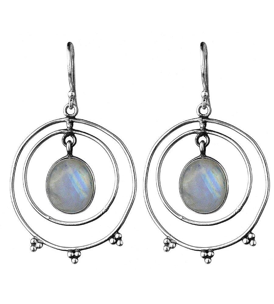 DV Jewels rainbow moonstone gemstone hanging earrings