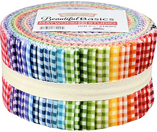 (Beautiful Basics Classic Check Precut Quilting Strips of Fabric Jelly Roll 40 2.5-inch by Maywood Studio)
